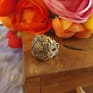 Barse gold & black ornate carved statement ring